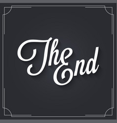 the end sign logo design vintage movie ending vector image