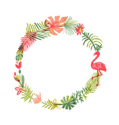 tropical flower and flamingo bird wreath vector image