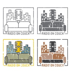Vintage grunge labels of radio with microphone vector