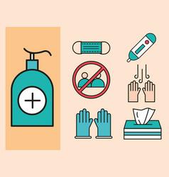 virus protection dispenser with sanitizer gel vector image
