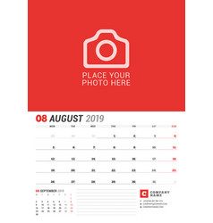 wall calendar planner for 2019 year august print vector image