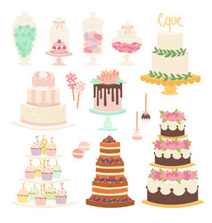 Wedding cake pie cartoon style isolated vector
