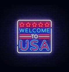welcome to usa neon sign to usa vector image