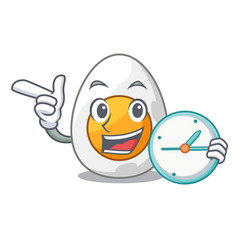 With clock character hard boiled egg ready to eat vector