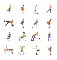 workout and fitness games flat icons vector image