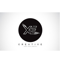 Xe modern leter logo design with black and white vector