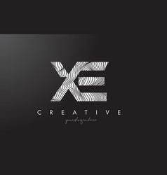 Xe x e letter logo with zebra lines texture vector