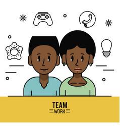 Young business teamwork cartoon vector