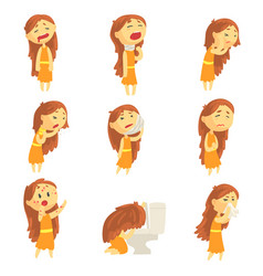 Cartoon unhappy woman suffering from pain with vector