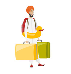 cheerful traveler man in inflatable ring vector image vector image
