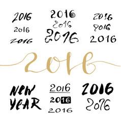 New year handwritten sign bundle calligraphic vector