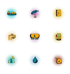 Oil icons set pop-art style vector image vector image