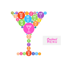 cocktail menu design flat style poster vector image vector image