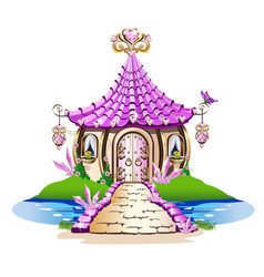 fairy house with pink crystals vector image