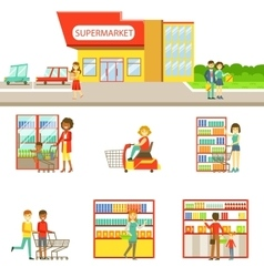 Grocery Shop Exterior And People Shopping Set Of vector image vector image