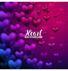 Love romantic 3D Realistic Red Hearts Shining vector image vector image