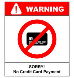 No credit card payment cash red prohibition sign vector
