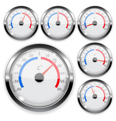 round weather thermometer with chrome frame vector image