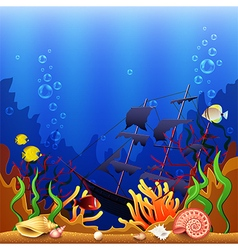 Sunken ship underwater background vector image vector image