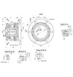 Expanded bearing sketch engineering drawing vector
