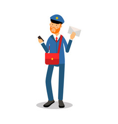 postman with a red beard in blue uniform vector image