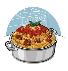 Rigatoni pasta with meatballs vector