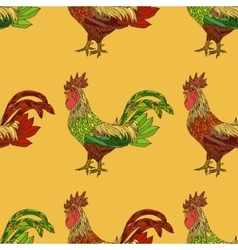 Seamless pattern with colorful cock vector image vector image