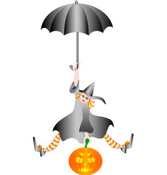 witch halloween flying on umbrella with a pumpkin vector image vector image