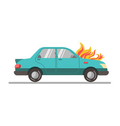 car with burning engine vector image