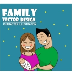 Cute cartoon young couple holding baby vector image vector image