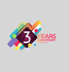 3 years anniversary colorful design with circle vector