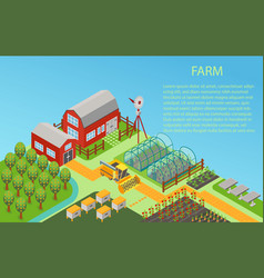 3d isometric rural farm concept background vector image
