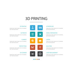 3d printing infographic 10 option concept3d vector