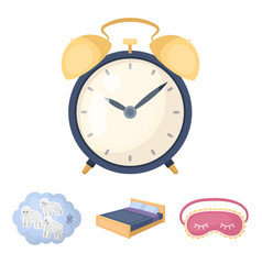 a bed a blindfold counting rams an alarm clock vector image
