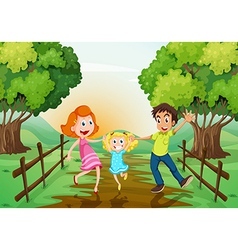 A happy family at the woods vector image