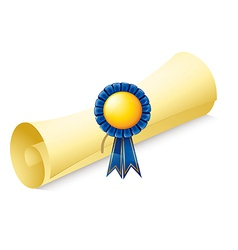 A paper scroll with a ribbon vector image