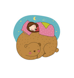 a sleeping girl and a bear vector image