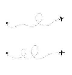 airplane dotted path dash travel line route point vector image