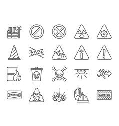 Alert line icon set vector