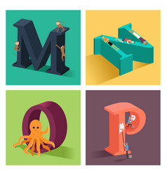 Alphabets concept in 3d vector