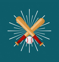 Baseball bat and ball sport sunburst color vector