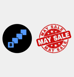 bitcoin blockchain icon and grunge may sale vector image