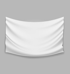 Blank white fabric flag banner vector