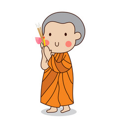 Buddhist novice walking with lighted candle in vector