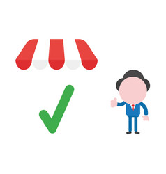 Businessman character giving thumbs up with check vector