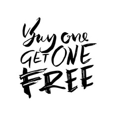 buy one get one free handdrawn brush lettering vector image