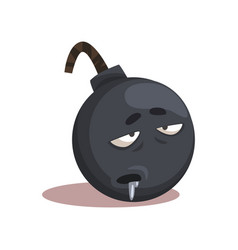 cartoon character of gray bomb with sick face vector image