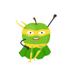 Cartoon superhero character green apple flat vector
