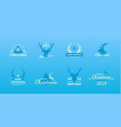 christmas and new year deer set holiday logo vector image