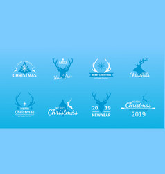 christmas and new year deer set of holiday logo vector image